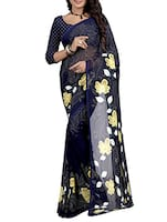 blue georgette printed saree -  online shopping for Sarees