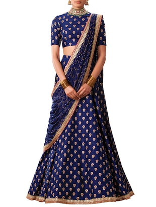 blue art silk flared lehenga