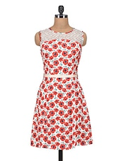 Red And Beige Printed Georgette Dress - By