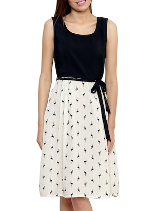 black and offwhite crepe printed dress
