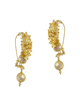 white brass drop earrings