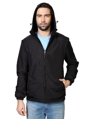 black polyester blend casual jacket