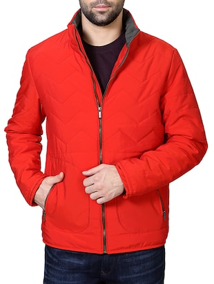 red polyester casual jacket