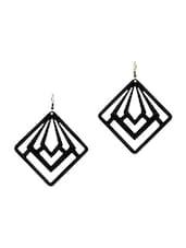 Black Brass Cutworked Earrings - By - 1316680