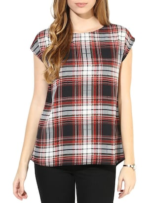 Multi Poly Crepe Checkered Top