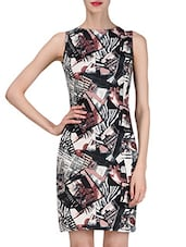 Multicoloured Printed Sleeveless Bodycon Dress - By