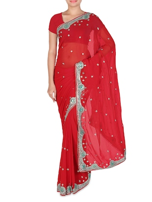 Red Faux Georgette Plain Embellished Saree