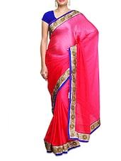 Pink Satin Chiffon Plain Bordered Saree - By