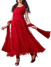 Red Net Brasso Anarkali Dress Material - By