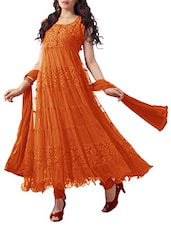 Orange Net Brasso Anarkali Dress Material - By