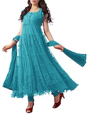 Sky Blue Net Brasso Anarkali Dress Material - By