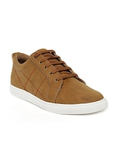 tan leatherette lace up sneaker -  online shopping for Sneakers