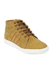 beige Leatherette lace up sneaker -  online shopping for Sneakers