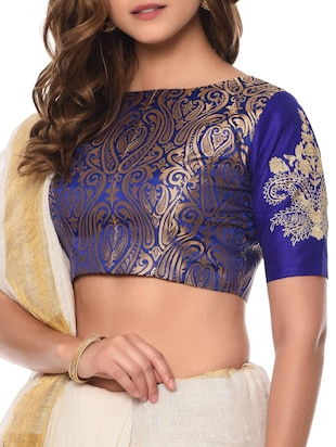 blue  brocade stitched blouse