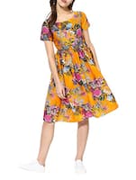yellow floral cotton dress -  online shopping for Dresses