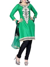Green And Black Cotton Embroidered Unstitched Suit Set - By