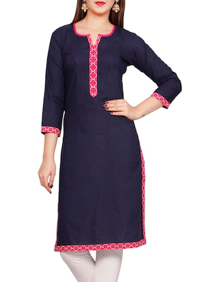 blue none straight kurta