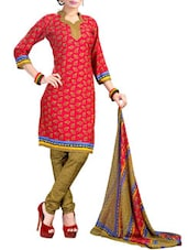 Pink And Olive Green Coloured Printed Suit Set - By
