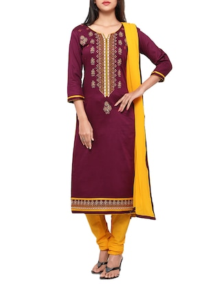 maroon cotton embroidered churidaar suits unstitched suit