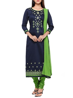 blue cotton embroidered churidaar suits unstitched suit