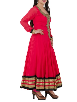 red georgette anarkali suits stitched suit - 13196158 - Standard Image - 2