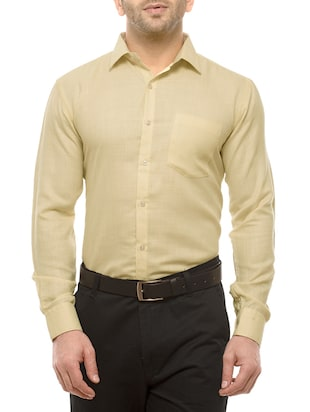 yellow cotton blend formal shirt
