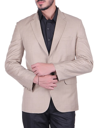 beige cotton formal blazer