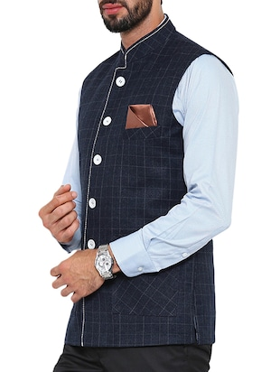 navy blue cotton nehru jacket - 13207000 - Standard Image - 2