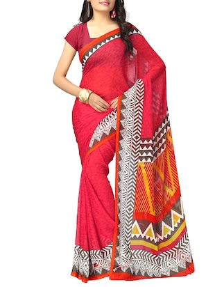 red chiffon printed saree