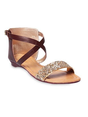 Brown Sequined Faux Leather Buckled Sandals