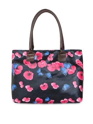 Multi floral printed nylon handbag