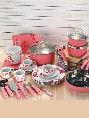 pink Stainless Steel kitchen and serve ware Set (59 pcs)