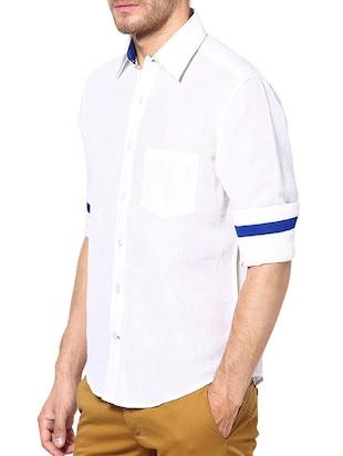 white linen casual shirt - 13214886 - Standard Image - 2