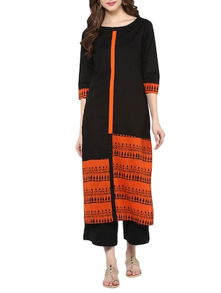black cotton straight kurta