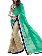 Green And Beige Georgette Embroidered Saree - By
