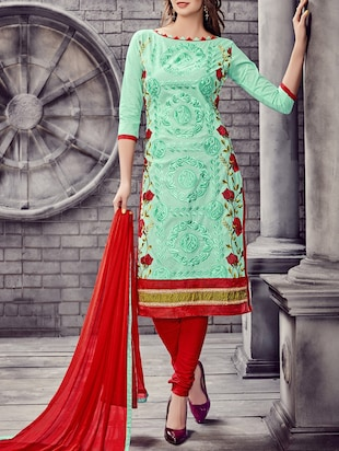 green cotton blend embroidered churidaar semi-stitched suit