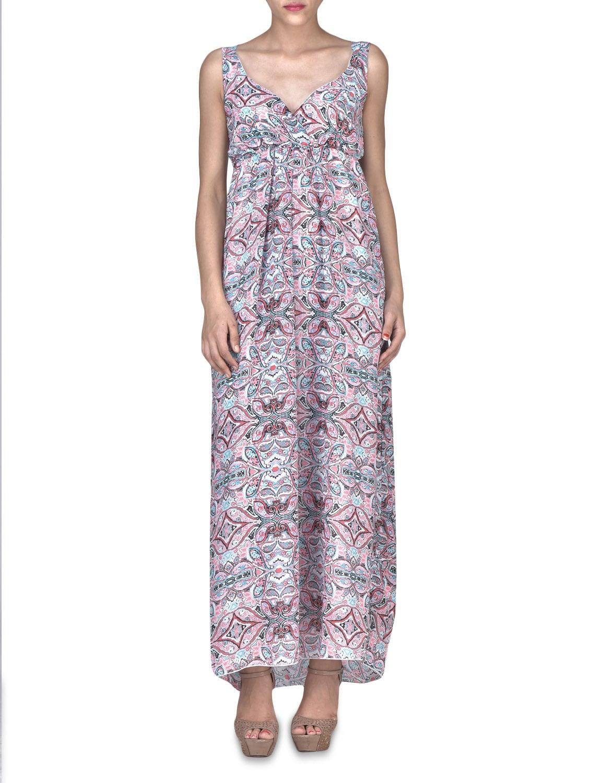 Multicolored Viscose Printed Sleeveless Maxi Dress - By - 1323289