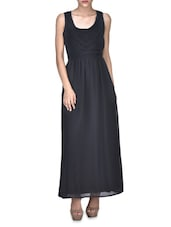 Black Viscose Sleeveless Maxi Dress - By