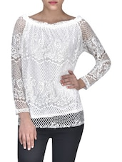 Cream Cotton Top With Full Sleeves - By