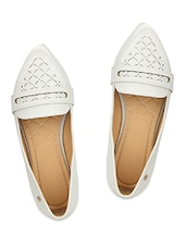 White Faux Leather Ballerinas With Cutout Work - By
