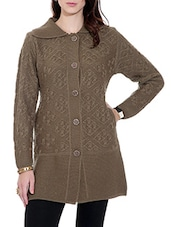 Brown Woolen Cardigan With Pockets - By
