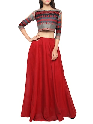 red cotton flared lehenga