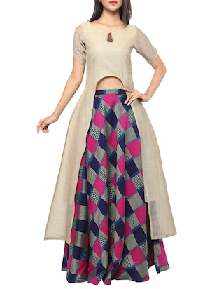 Multicolored cotton flared lehenga