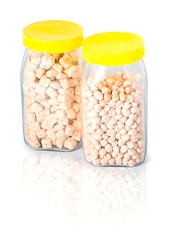 Gold  Yellow Square Glass Jar Set - By