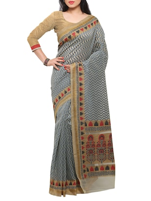 grey art silk woven saree