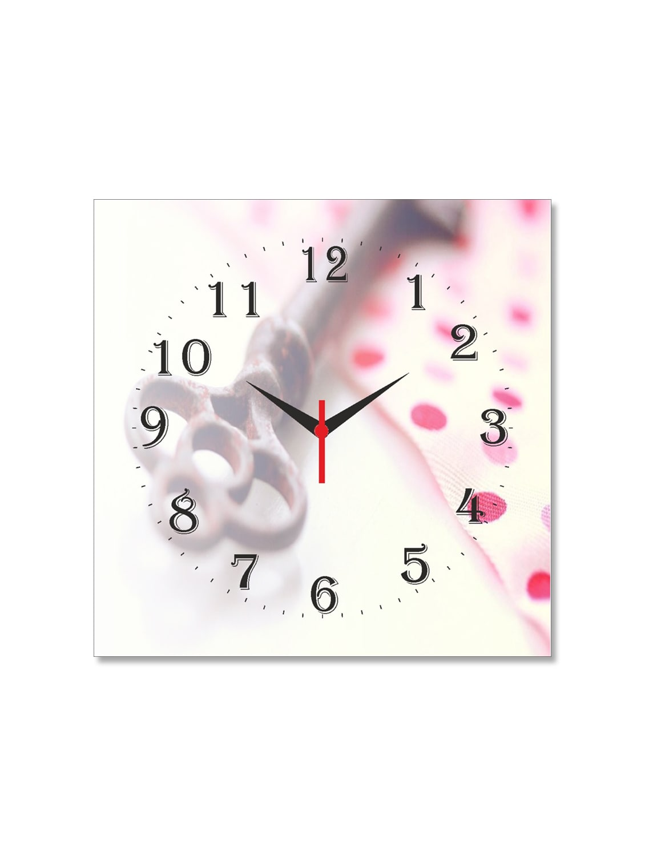 Multicolored Seasoned Wood Key And Flowers Printed Wall Clock - By