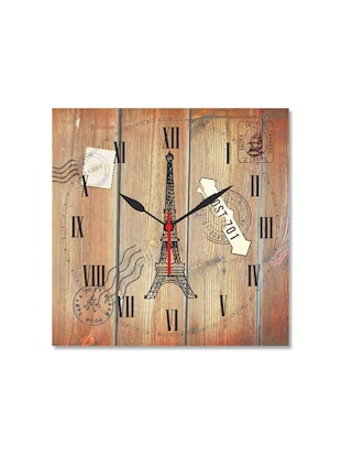 Multicolored Seasoned Wood Eiffel Tower Printed Wall Clock