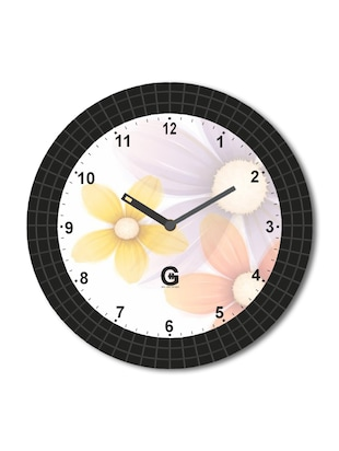 Multicolored Plastic And Glass Floral Printed Wall Clock