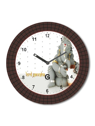 Multicolored Plastic And Glass Square Grid  Ganesha Designed Printed Wall Clock
