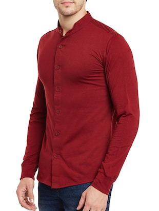 red cotton casual shirt - 13263143 - Standard Image - 2